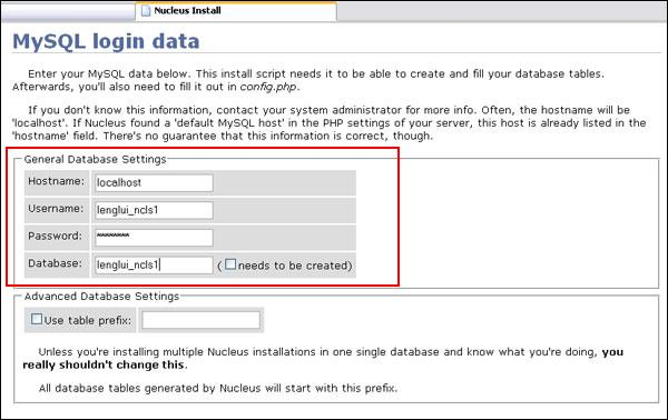 Step 9:  Enter your MySQL details.