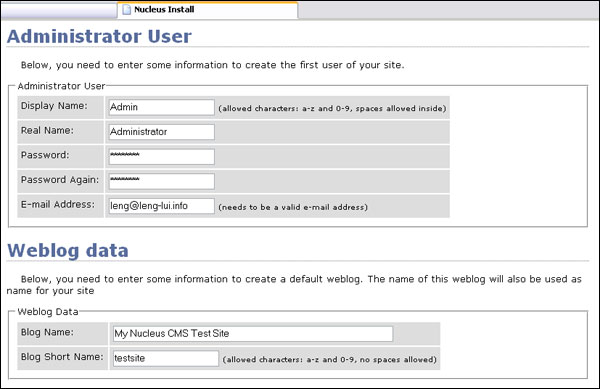 Step 11:  Enter your administrator user and default blog details.