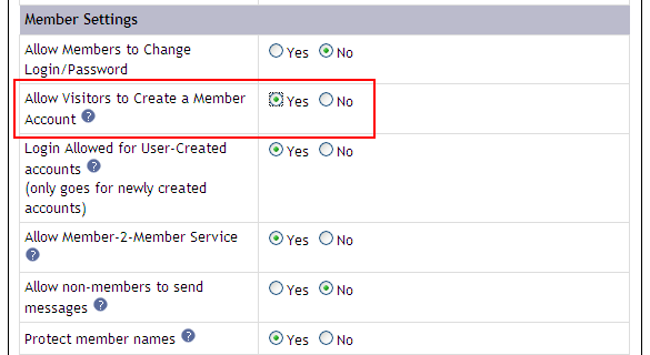 Allow visitors to create a member account?  Yes